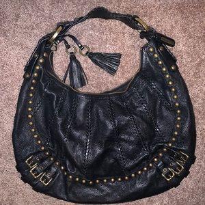 Isabella Fiore Black Leather Shoulder Bag